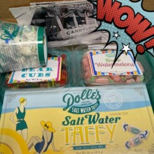 mailer showing Dolle's® postcards, Bear Cubs and Sour Watermelon gummies, and salt water taffy box