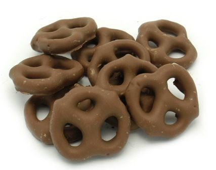 pile of Chocolate Covered Mini Pretzels