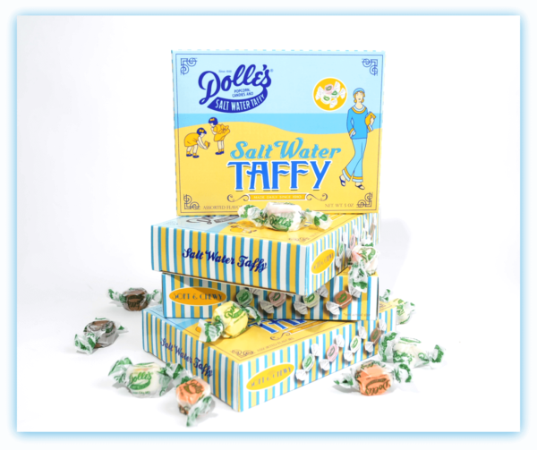 stack of 4 boxes of Dolle's® Salt Water Taffy