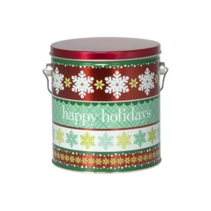 tin of Dolle's® Popcorn decorated with Happy Holidays and snowflake pattern artwork