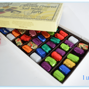 opened 1 lb box of Dolle's® Dark Chocolate Covered Salt Water Taffy Kisses