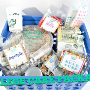 plastic crate filled with wide variety of Dolle's® popcorn, candy, and taffy