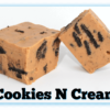 """2 """"Cookies N Cream"""" Fudge pieces with one cut in half"""