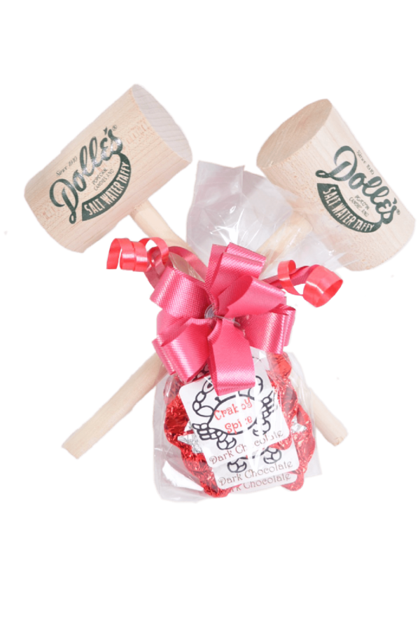 2 crab mallets and 6 crabby spice dark chocolate crabs wrapped as gift set