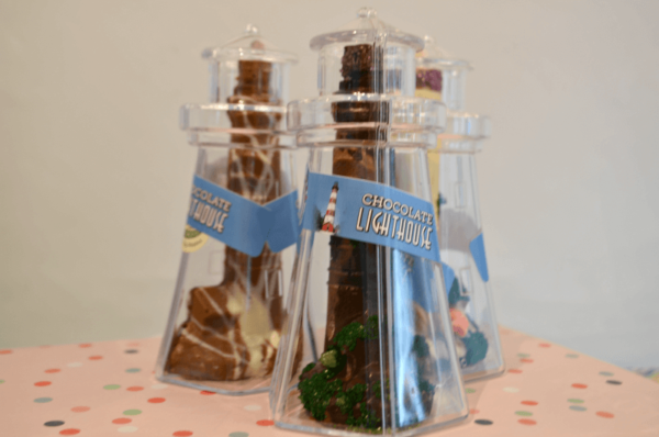 solid chocolate lighthouses inside clear lighthouse containers