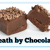 """2 """"Death by Chocolate"""" Fudge pieces with one cut in half"""