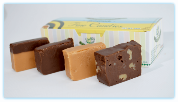assorted 4 pieces of Fudge in front of box