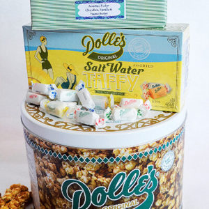 1 lb Assorted Fudge and 1 lb Sea Salt Caramels stacked on 2 Gal Decorative Dolle's® Tin of Caramel Popcorn