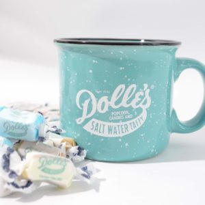 green ceramic mug with the Dolle's® logo and loose taffy