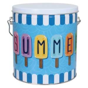 tin of Dolle's® Popcorn decorated with popsicles spelling out SUMMER artwork