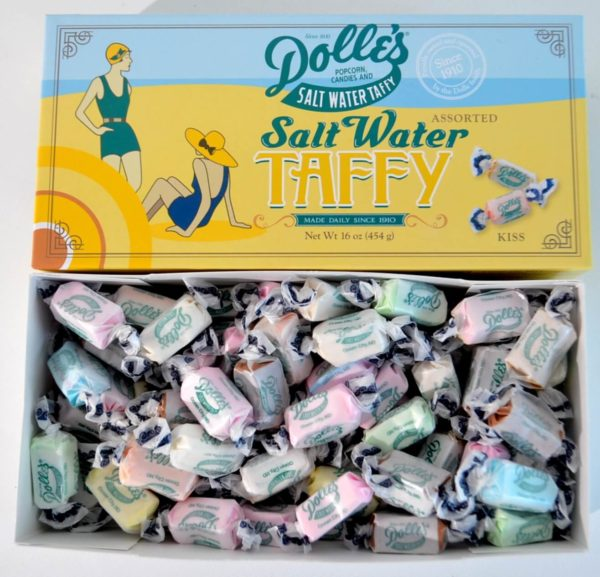 opened 1lb box of Dolle's® Assorted Salt Water Taffy Kisses