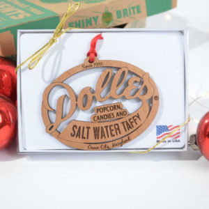 wooden laser cut ornament of our famous Dolle's® logo