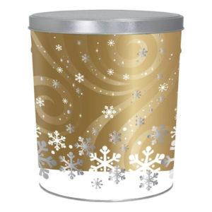 tin of Dolle's® Popcorn decorated with snowflake and gold swirl pattern artwork