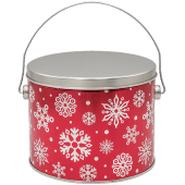 tin of Dolle's® Popcorn decorated with snowflake pattern artwork