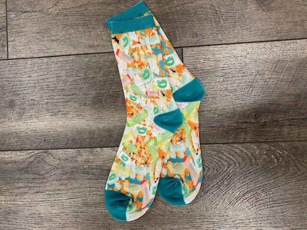 socks are printed with taffy and caramel popcorn